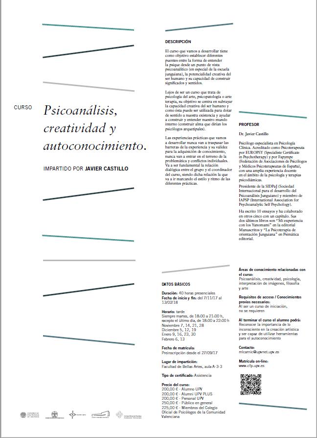Curso- Psicoanálisis, creatividad y autoconocimiento. Universidad Politécnica de Valencia